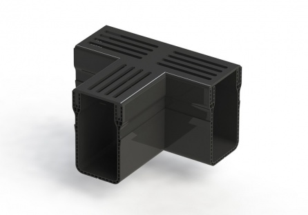 Threshold Drain Tee Black Aluminium Grate