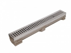 C250 Polymer Concrete Drainage Channel c/w Stainless Steel Grating  x 1m