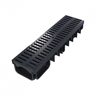 XDrain 130/80 A15 Drainage Channel x 500mm Long Black Grate