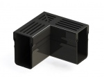 Threshold Drain Corner Black Aluminium Grate